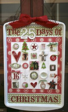 Christmas calendar on a cookie sheet! (Buying the cookie sheet: You just need an inexpensive cookie sheet. The dollar store has a great selection. You DON'T want a Teflon one because the magnets wont stick.)