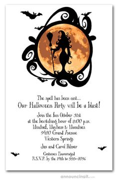 A witch and her broom are silhouetted against an erie full moon, perfect for Halloween party invitations or Halloween birthday invitations for creatures of all ages. See our entire collection at Announcingit.com