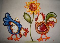 Chickens with Sunflower Chicken Crafts, Chicken Art, Tole Painting, Fabric Painting, Kids Canvas Art, Little Doodles, Chickens And Roosters, Country Paintings, Coq