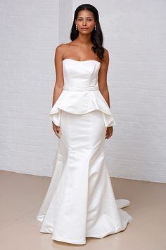 Peplum wedding dress from David's Bridal, Spring 2013 http://pinterest.com/nfordzho/dream-wedding/