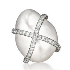 Verdura | Products | EARCLIPS | PEARL | Diamond-Wrapped Pearl Earclips