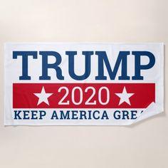 Trump 2020 Keep America Great - modern Beach Towel #trumpforpresident #trumprally #trumplife , back to school, aesthetic wallpaper, y2k fashion