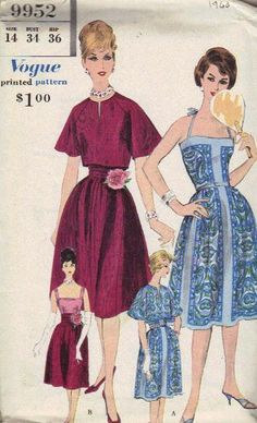 Vogue 9952 ©1960 sundress with interesting use of border prints