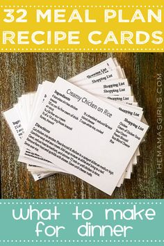 32 Meal Plan Recipe Cards - LOVE this idea! Now I don't have to think about what to make for dinner!