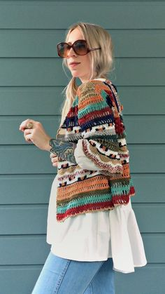final sale, babes!Colorful crochet kimono jacket inspired by handwoven textiles from Cleobella's travels and vintage bohemian style. Features three-quarter length sleeves that have a slight bell effect. Open front. Pair it over your fav tee with c...