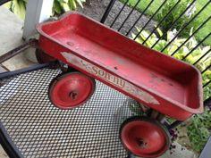 vintage little red wagon Sonny Primitive garden decor Primitive Garden Decor, Little Red Wagon, Wheelbarrow, 1930s, Garden Tools, Events, Ebay, Vintage, Art