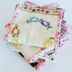 Pretty needle books made with vintage embroidered fabric
