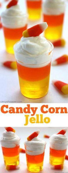 Jello Candy Corn Jello - Super fun and easy Jell-O dessert for fall and Halloween treat.Candy Corn Jello - Super fun and easy Jell-O dessert for fall and Halloween treat. Postres Halloween, Dessert Halloween, Halloween Goodies, Halloween Food For Party, Halloween Birthday, Spooky Halloween, Healthy Halloween, Halloween Stuff, Halloween Snacks For Kids