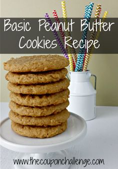 Have you been searching for a Basic Peanut Butter Cookies Recipe?  You can stop looking because this recipe is sure to be a new favorite.  Simple and delicious - it's full of chewy peanut butter goodness.