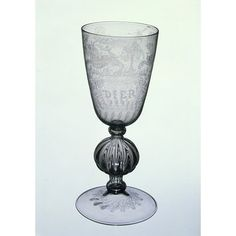 The inscriptions may plausibly be linked to the French Huguenot glass engraver, Anthony de Lysle, who is known to have worked in London (he is recorded there in 1582 and 1583). Verzelini's monopoly of 1574 (his exclusive right to produce and sell Venetian-style glass in England) forbade the import of Venetian glass, so in theory de Lysle would have been compelled to purchase English glass from the Verzelini glasshouse. De Lysle was also a pewterer