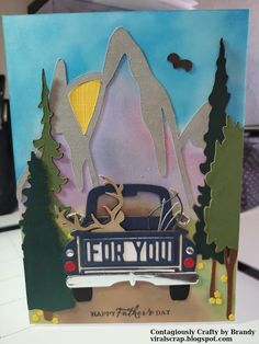 How much fun is this? Brandy has put her Spellbinders Truckin' Through the Seasons dies to creat this fantastic card. Tractor Crafts, Masculine Birthday Cards, Arts And Crafts, Paper Crafts, Spellbinders Cards, Cute House, Your Cards, Men's Cards, Dad Day