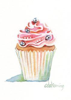 Pink Cupcake Painting 5x7 300dpi DIGITAL door christydekoning, $5.00