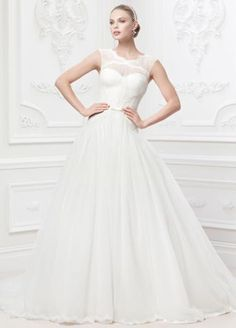 Truly by Zac Posen collection at David's Bridal: Cap sleeve gown with embroidered illusion neckline, veiled corset bodice of Chantilly lace and draped tulle, mikado bow belt, and tulle ball gown skirt. Wedding Dress Finder, Wedding Dresses Photos, Bridal Wedding Dresses, Tulle Wedding, Wedding Bride, Wedding Fun, Bridal Style, Elegant Wedding, Davids Bridal