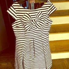 Kate Spade now stripe Mariella dress 🎉host pick 7/2 🎉 Kate spade Mariella stripe dress. Navy and white with cap sleeves and side zipper. New with tags. The shell is 100% polyester and the lining is 100% polyester. kate spade Dresses