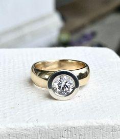 Wide Band Diamond Rings, Rings N Things, Yellow Gold Rings, Custom Jewelry, Falling In Love, Wedding Bands, Jewelery, Gems, Engagement Rings