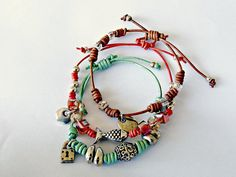 This set of bracelets is handmade, with 2mm cord and silver plated zamak findings.  This three leather bracelets are trending and confortable to wear, you will have a moder...