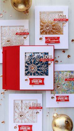 Spellbinders   Snowflake Window Shaker Cards by Yana Smakula. Video tutorial. Cards using Snowflake Snippets S5-301 dies. #cardmaking #shakercard #yanasmakula #spellbinders