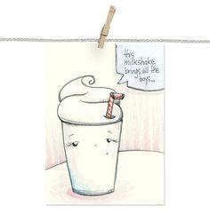 Milkshake   Original Funny Drawing   by @katyatch on #xoxoSFETSY #SFEtsyCrush