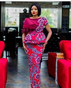 Look Fabulous In This 2018 Peplum Gown Style For wedding, Ankara styles Fashion Trends, Peplum styles.check out these latest african fashion trends we have lined up for you today. They look classic and absolutely gorgeous. African Fashion Designers, Latest African Fashion Dresses, African Print Fashion, Africa Fashion, African Prints, Latest Outfits, African Attire, African Wear, African Dress