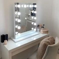 Hollywood Mirror Ikea, Hollywood Style Mirror, Hollywood Mirror With Lights, Ikea Dressing Table, Dressing Table Organisation, Dressing Table Mirror, Dressing Rooms, Lights Around Mirror, Makeup Mirror With Lights