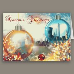 Chicago Season's Greetings Baubles  Images of Chicago float inside shiny Christmas ball decorations beneath a traditional Season's Greetings message on a background featuring an original photo of the city skyline. Festive holiday season colors, and blank inside for your personal greeting.
