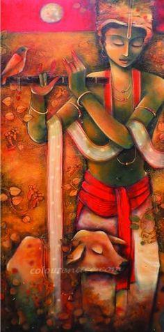 krishna by Samar Basak Hare Krishna, Krishna Art, Krishna Pictures, Krishna Images, Indian Artwork, Indian Paintings, Bhagavad Gita, Shiva, Ganesha Painting
