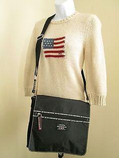 RALPH LAUREN POLO JEANS Co. Black Nylon Flap Crossbody Messenger Handbag