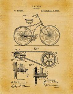 1890 vélo courroie et poulie brevet Art par BlueMoonPatentPrints