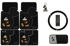 Mickey Mouse Vintage Front & Rear Car Truck SUV Seat Rubber Floor Mats & Steering Wheel Cover & CD Visor & Key Chain - 7PC : Amazon.com : Au...
