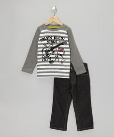 Take a look at this Gray Rockstar Raglan Tee & Jeans - Infant & Toddler by Calvin Klein Jeans on #zulily today!