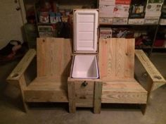 Check out these outdoor chairs! They come with a custom built in ice chest - neat!