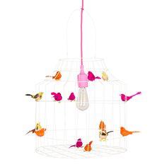 Hanglamp van wit gelakt ijzerdraad met neon kleur vogeltjes | Dutch dilight via Kinderkamerstylist