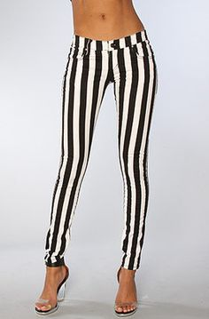 Tripp NYC The Overdyed Super Stripe Skinny Jean in White Black Tripp