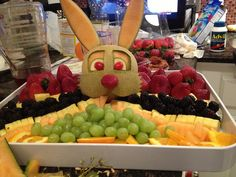 Easter bunny fruit tray from the annual Easter egg hunt we do