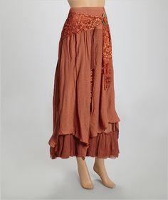 Look at this #zulilyfind! Orange Lace Linen-Blend Maxi Skirt - Women by Pretty Angel #zulilyfinds