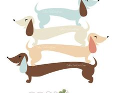 Sausage Dog / Dachshund Digital Clipart Set by CollectiveCreation