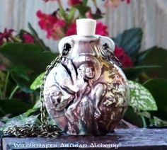 Old European Master Crafted Magical Arts™ Magical Jewelry, Bottle Necklace, Oil Bottle, Ceramic Beads, Alchemy, Christmas Bulbs, Artisan, Fairy, Ceramics