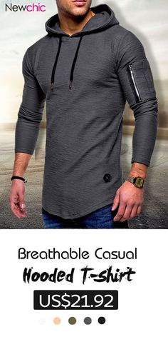 2c3109c27892 Mens Breathable Solid Color Irregular Hem O-neck Long Sleeve Slim Casual  Hooded T Shirts