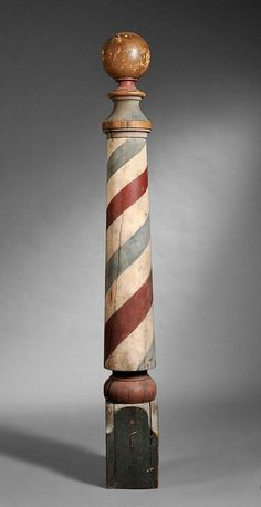 Late century gilt and polychrome turned wood barber pole. Related posts:barber sayings - Bing imagesGreenwich Village. Barber Shop Pole, Barber Shop Chairs, Barber Chair, Barber Shop Interior, Barber Shop Decor, Retro Industrial, Hair Salon Names, Barber Haircuts, Barbershop Design