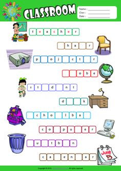 Classroom Missing Letters in Words ESL Vocabulary Worksheet