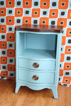 Something that I have been looking for. A nightstand that has a space for books and also drawers for various items.