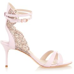 Sophia Webster Micah glitter angel-wings leather sandals ($595) ❤ liked on Polyvore featuring shoes, sandals, heels, light pink, leather shoes, embellished leather sandals, light pink sandals, sophia webster shoes and angel wing sandals