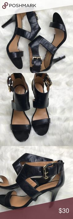 Black leather Nine West Adriano heels in sz 7 1/2 Black leather Nine West Adriano heels in size 7 1/2. Has gold/brass colored buckles and soft suede like front for toe comfort. In excellent used condition. Has light wear to soles as shown in last picture Nine West Shoes Heels