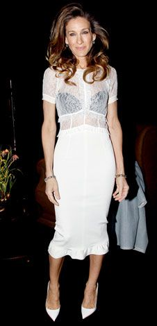 """03/07/12: #SarahJessicaParker defined """"white hot"""" in an alluring peek-a-boo design.  http://www.instyle.com/instyle/celebrities/lotdpopup/0,,20576500_21130436,00.html"""
