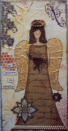 angel art mixed media canvas - sandi tygar
