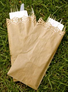 Rustic Wedding Silverware Bag / Silverware Envelope / Silverware Sleeve