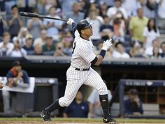 New York Yankees' Alex Rodriguez hits a home run for his 3,000th career hit, during the first inning against the Detroit Tigers during a 7-2 Yankees victory Friday, June 19, 2015, in New York.