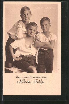 Alte Ansichtskarte: AK Die Nivea-Jungens, Reklame für Nivea-Seife