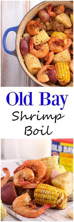 Old Bay Shrimp Boil is a simple one pot dish with shrimp, potatoes, corn and sausage. Perfect for a bbq, party, or end of summer dinner. (simple dinner recipes for one) Seafood Appetizers, Seafood Dinner, Sandwich Appetizers, Cheese Appetizers, Seafood Boil Pot, Oven Shrimp Boil, Shrimp Boil Party, Cajun Seafood Boil, Shrimp And Crab Boil