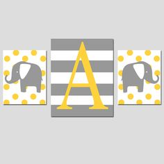 Nursery Art Trio - Set of Three Prints - 8x10 and 11x14 - Monogram Elephants - Chevron, Stripe, Polka Dot - Choose Your Pattern and Colors. $58.50, via Etsy.
